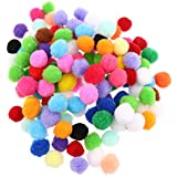 MagiDeal 100 Pieces Mixed Color Felt Balls Pompom Ball Pom Pom For DIY Sewing Crafts Jewelry Making - multicolor, 25mm