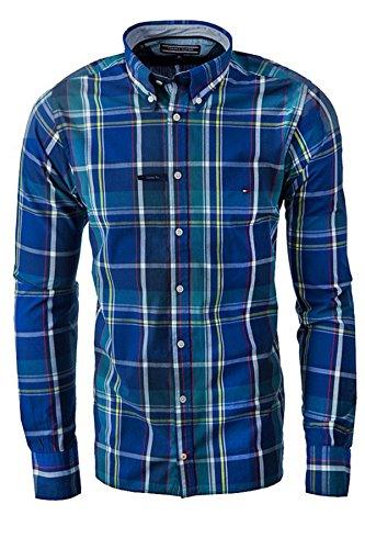 TOMMY HILFIGER CUSTOM FIT Camicia Uomo maniche Lunghe colore NAVY (L, BLU)