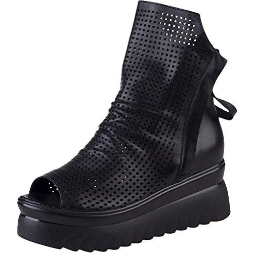 Vogstyle Damen Sommer Peep Toe Sandalen Aushöhlen Plattform Schuhe Schwarz 38 (Black Leder-plattform)