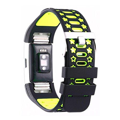 Preisvergleich Produktbild Sansee Mode Sport Neue Silikon Armband Armband Band für Fitbit Charge 2 / Silikon Armband Strap Band (Grün)
