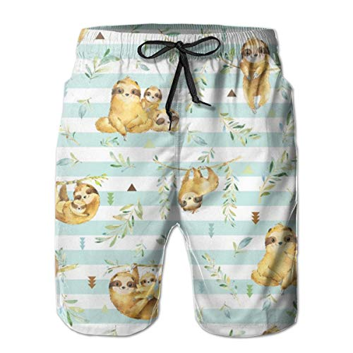 IconSymbol Sloths Hangin On, Soft Crystal Blue Stripe - Children's Bedding Baby Boy Nursery, Large Scale Men's Swimming Trousers Quick-Drying Beach Board Shorts with Mesh Lining Ralph Crystal