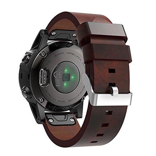 Pinhen Garmin Fenix 5/5S 5Leder Fenix 5Uhrenarmband Ersatz Uhrenarmband Armband für Garmin Fenix 5/5S 5Smart Watch