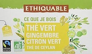 Ethiquable Thé Vert Gingembre Citron Vert Ceylan Bio et Équitable 20 Sachets Max Havelaar - Lot de 4