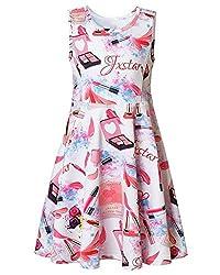Kidsform Girls Print Dress Summer Sleeveless Vintage Cartoon Pattern Round Neck Floral Sundress Lipstick 8-9y