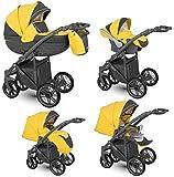 Lux4Kids Kinderwagen 2in1 3in1 Isofix Buggy Autositz Gratis Zubehör LOG UVP 899 Yellow LO-05 2in1 ohne Babyschale