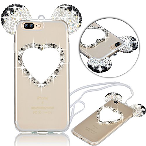iPhone 7 Plus Hülle, Vandot Glitzer Glänzend Transparent Case für iPhone 7 Plus Handmade Schutzhülle TPU Silikon Diamant Bling Shining Glitter Weich Zurück Cover Telefonkasten Maus Mouse Ohr Ear Ultra Heart Schwarz