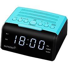 "Sunstech FRD35UBL - Radio despertador, con alarma dual y pantalla LED iluminada en azul de 0.9"" (AM / FM Digital PLL, USB cargador, conexión auriculares) color azul"