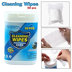 RiaTech® Pre-Moistened Lens Cleaning Wipes (50 pcs) for Spectacles, Binoculars, Mobiles, Tablets, Laptops, LCD display, Cameras
