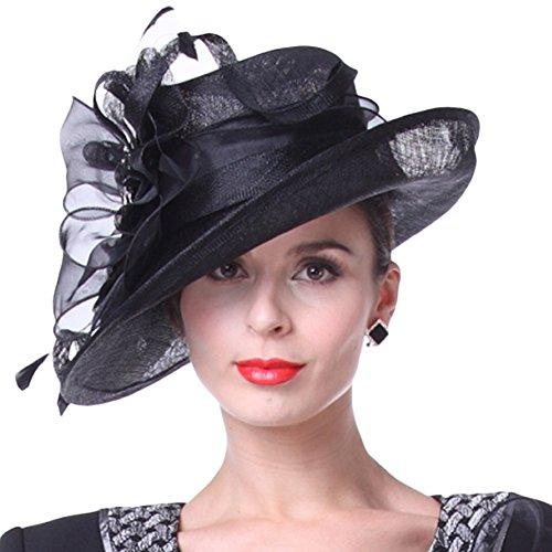 Koola's hats Damen Schwarz 3 Lagen Sinamay Hochzeit Hüte Sohne Hut Ascot Race Derby Hut