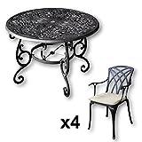 Lazy Susan - Flora 103 cm Runder Gartentisch mit 4 Stühlen - Gartenmöbel Set aus Metall, Antik Bronze (April Stühle, Beige Kissen)