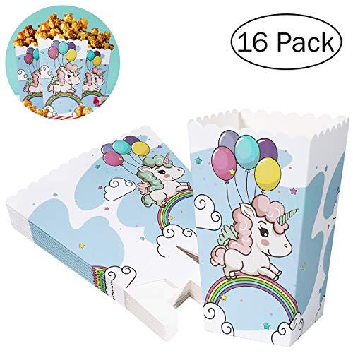 BESTONZON 16 Stück Einhorn Popcorn Tüten Popcorn Boxen Papiertüten für Familie Film Nächte Geburtstag Party Baby Duschen