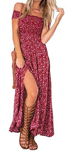 Yidarton Femme Robe Longue Ete Boheme Chic Maxi Robe de Plage Soirée Casual Imprimé Fleurie Mode Fendue Col Bateau Épaules Dénudées Rouge 44-46 / XXL