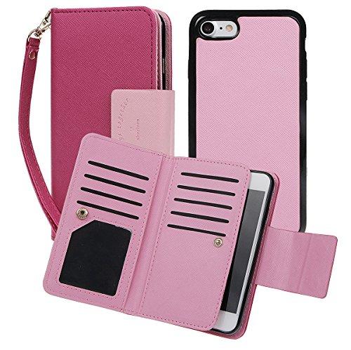 """xhorizon [Aktualisiert] [Luxusgold] [Erklassig] [Magnetisch Auto Mount Kompatible] Premium PU Leder Magnetisch Abnehmbar Mappen Kasten Abdeckung mit Kartensteckplätze Auto-Funktionen iPhone 7 (4.7"""") Rose"""