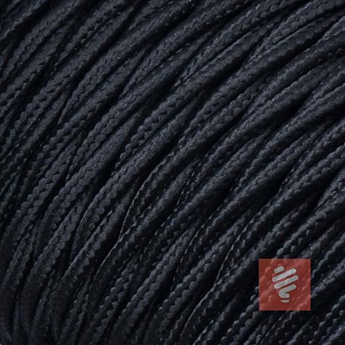 Textilkabel für Lampe, verseilt (geflochten), dreiadrig - 3x0,75mm², Schwarz - 5 Meter
