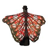 Xmiral Disfraz para Mujer Chal de Alas de Mariposa Costume para Carnaval Fiesta Bufandas Poncho Accesorio Chicas(Rojo,197 * 125cm)