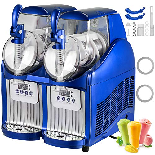 BuoQua 2x2L Slusheis Maschine Blau Slush Maker 300W Professionelle elektrische Slushmaschine 220V für Gelateria oder Bar Professionelle Granita Maschine mit 2 Gläsern