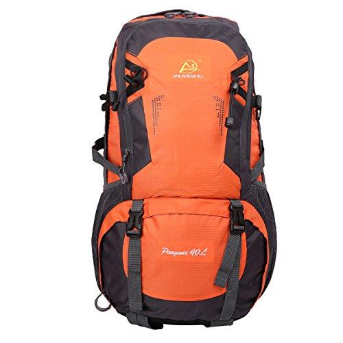 HWJIANFENG Zaini 40L Sportivi Unisex in Nylon Poliestere da Trekking Borse per Outdoor Campeggio Escursionismo Viaggi Arancione
