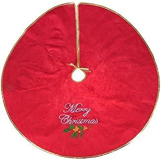 Clever Creations – Falda para árbol de Navidad – Recoge las agujas y la savia – Cierre de cordón – Motivo navideño – Con la frase «Merry Christmas» bordada – Rojo, blanco y verde – 101,6 cm de diámetro