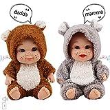 deAO 9 '' Zwillings-Baby-Puppenspielset mit 6 Klangfunktionen in einem niedlichen, Flauschigen Pyjama Kinder!