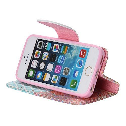 PU für Apple iPhone 5 5S SE Hülle,Geprägte Campanula Handyhülle / Tasche / Cover / Case für das Apple iPhone 5 5S SE PU Leder Flip Cover Leder Hülle Kunstleder Folio Schutzhülle Wallet Tasche Etui Sta 5
