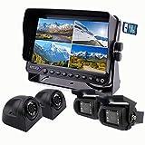 zhiren Auto Backup Kamera System 22,9cm Monitor integrierter DVR Recorder mit Quad Split Screen Kamera System Kit für LKW, Van Camper Bus Wohnmobil-Harvester