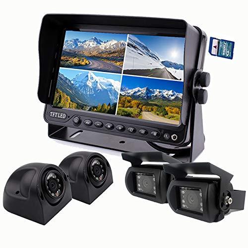 zhiren Auto Backup Kamera System 22,9cm Monitor integrierter DVR Recorder mit Quad Split Screen Kamera System Kit für LKW, Van Camper Bus Wohnmobil-Harvester -
