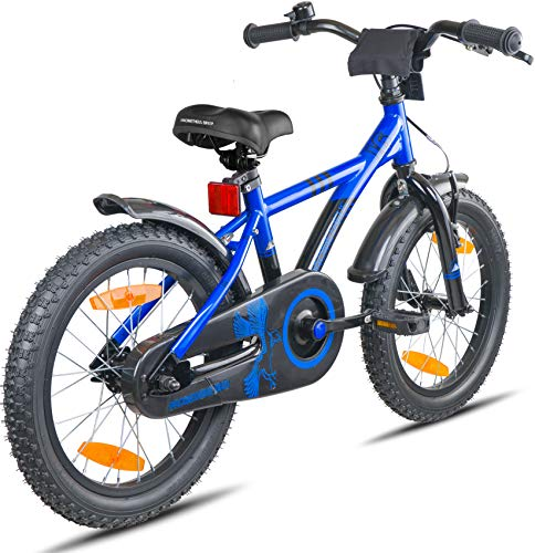 Prometheus Bicicletta per Bambini e Bambine da 5 Anni nei Colori Blu e Nero da 16 Pollici con rotelle e contropedale – BMX da 16″ Modello 2019 - 7