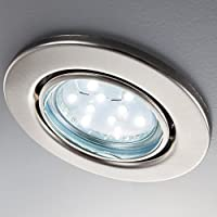 LED recessed ceiling light I rotatable I fitted light I round I warm white I metal I modern matt nickel design I 6 x 3 W illuminant I 230V I GU10 I IP23 from B.K.Licht