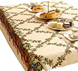 FEOYA - Mantel de Mesa de Navidad con Estampado Rectangular Antimanchas Decoración de Mesa Navideña Tapetes de Mesa Fiesta Banquete