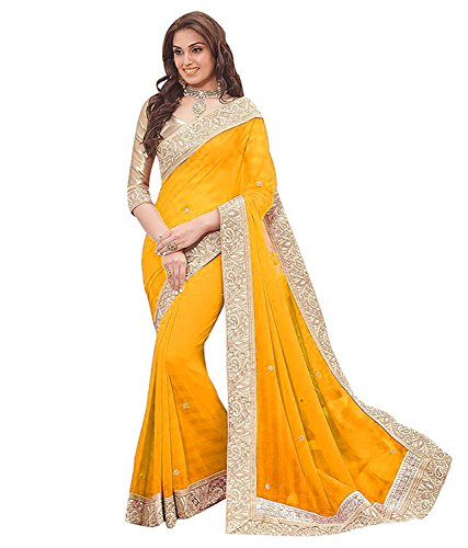 Shree Women's Georgette Fabric Saree With Blouse Piece.(Priya Yellow_Free Size)