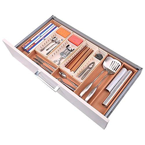 únika + [Holz Edition]-Besteckkasten erweiterbar Utensil Organizer Besteck Schublade Teiler Küche Lagerung Organizer Long w 4 Compartments holz (Holz-küche-schublade Teiler)