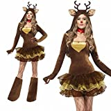 Costumes de Cosplay Adulte Noël Santa Cos Ladies Costumes de Noël Cosplay,Café brun
