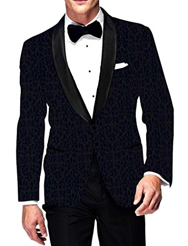 INMONARCH Mens Navy Blue Velvet Blazer Thread Muster VB15829R36 36 regelmäßigen Navy blau (Womens Blue Navy Blazer)