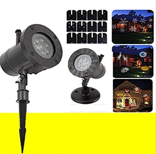 Licht Weihnachten Projektion Lampe Stufe LED Licht 12 Modi Wasserdicht Niedrig Stromspannung Draußen Beamer Licht für Weihnachten Dekor (Halloween Rasen Dekor)