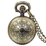 JewelryWe Vintage Steampunk Spinnennetz Taschenuhr Analog Quarz Kettenuhr Uhr Halskette Kette Bronze