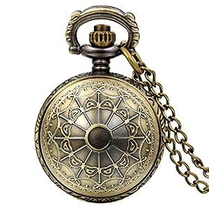 JewelryWe Vintage Steampunk Spinnennetz Taschenuhr Analog Quarz Kettenuhr Uhr Halskette Kette Bronze Vatertagsgeschenk