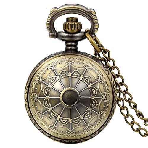 JewelryWe Vintage Steampunk Spinnennetz Taschenuhr Analog Quarz Kettenuhr -