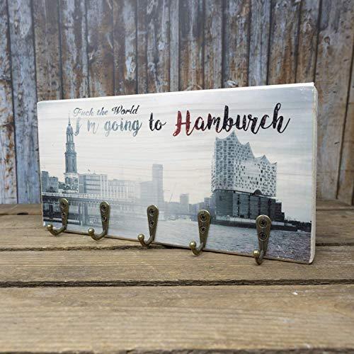 elbPLANKE mit Haken - Fuck the World, I'm going to Hamburch | 12x24 cm | Schlüsselbrett von Fotoart-Hamburg | mit 5 Antike Haken aus Holz (Kiefer/Fichte) - 100% Handmade