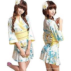 MWPT Mujer Estilo Kimono Cosplay Túnica Floral Ropa De Dormir Bata De Baño Ropa Interior