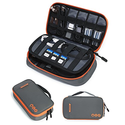 BAGSMART Zubehör Organizer Handliche Elektronik Tasche Reise Doppelte Fächer für 2,5 Zoll Festplatte Powerbank Kabel Akkus USB Sticks, Grau