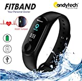 Candytech Fitband with OLED Touch Screen,Water Resistant, Pedometer, Blood Pressure, Heart Rate,Sweatproof, Calories Burnt Count,Remote Camera,Message Remind, Application Support of Lefun Health , where you get the complete report of you running heal...