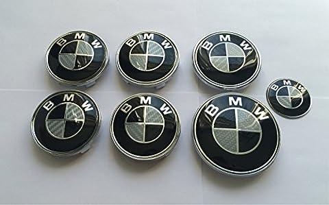 bm oem 36136783536 , 36131095361 Set von 7 Schwarz & Weiß Carbon Effekt Logo Wheel Center Kappen, Kofferraum, Motorhaube & Lenkrad Badges