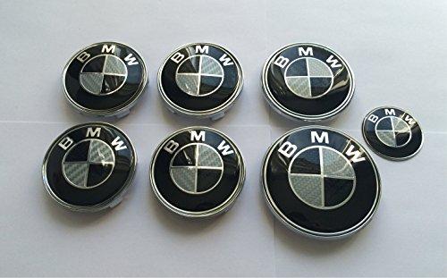 Preisvergleich Produktbild bm oem 36136783536 , 36131095361 Set von 7 Schwarz & Weiß Carbon Effekt Logo Wheel Center Kappen, Kofferraum, Motorhaube & Lenkrad Badges Embleme