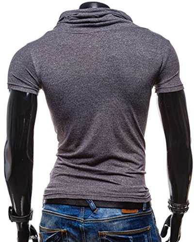 Herren Kurzarm T-shirt Slim Fit Trainingsshirt Poloshirt Dunkelgrau