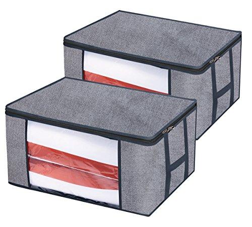 homyfort 2 Stück Aufbewahrungstasche für Bettdecken und Kissen - Kleidung Lagerplätze, Decken Organisator Lagerbehälter, Haus bewegen Tasche Feuchtigkeit Geschützt 60 x 45 x 30cm 81L, Grau, STROBAG12 -