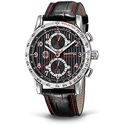 Clock Eberhard Tazio Nuvolari 31066.1Breaker quandrante Steel Black Leather Strap