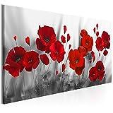 decomonkey | Bilder Blumen Mohnblumen rot 100x45 cm | 1 Teilig | Leinwandbilder | Bilder | Vlies Leinwand | Bilder | Wand | Bild auf Leinwand | Wandbild | Kunstdruck | Wanddeko | Natur Weiße Grau Modern | DKA0183a1XXS