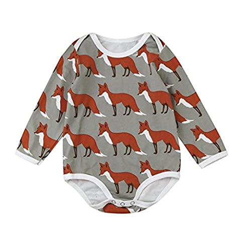 Baby Playsuits, BURFLY Cute Baby Fox Print Long Sleeve Romper Jumpsuits Clothe Set (24Months, Coffee)