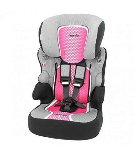 Nania Beline Group 1/2/3 Highback Booster Car Seat, Pink nania High back booster car seat with harness Designed to ensure your little one travels in comfort Padded and adjustable height headrest 2