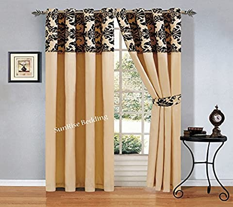 Lisa Flock Ring Top Curtains Ready made Eyelet Tape Pair Curtains Fully Lined Ring Top Curtains + 2 Tie Backs (2 x ( 66